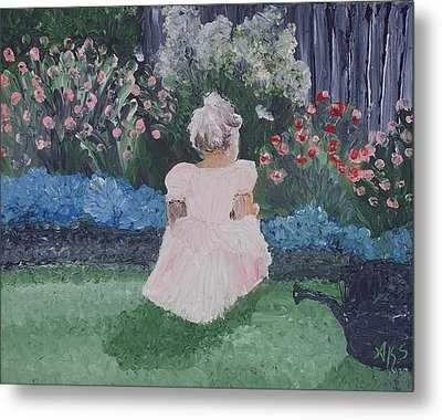 Girl In Garden Metal Print by Angela Stout