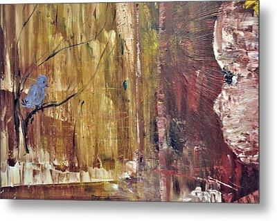 Girl With A Blue Bird Metal Print by Evelina Popilian