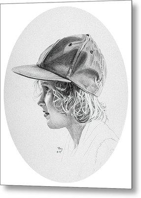 Girl With Baseball Cap Metal Print by Robert Tracy