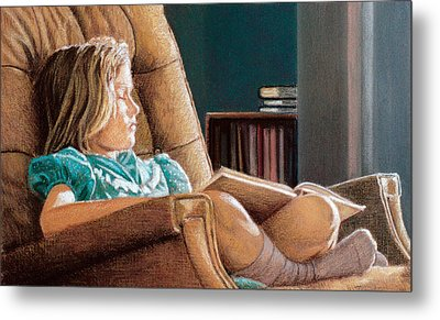 Girl With Book Metal Print by Robert Tracy