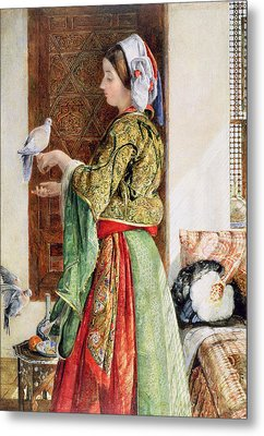 Girl With Two Caged Doves, Cairo, 1864 Metal Print by John Frederick Lewis