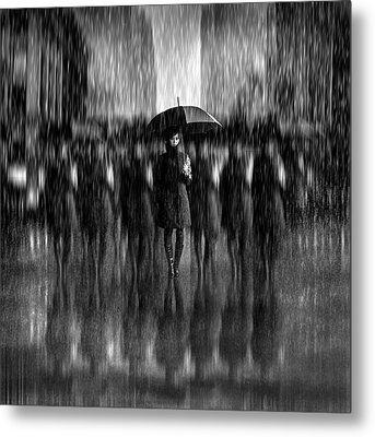 Girls In The Rain Metal Print