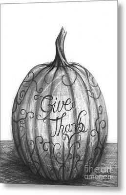 Metal Print featuring the drawing Give Thanks by J Ferwerda