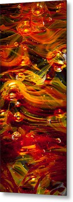 Glass Macro Abstract - Molten Fire Metal Print by David Patterson