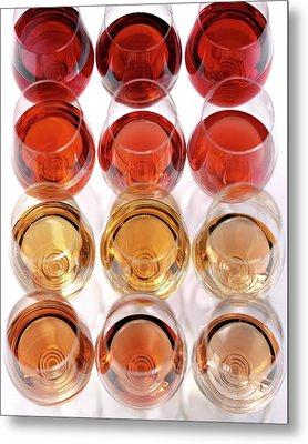 Glasses Of Rose Wine Metal Print by Romulo Yanes