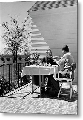 Glenway Wescott And Somerset Maugham On A Porch Metal Print by Serge Balkin