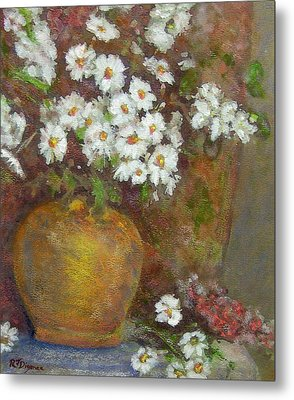 Gold Bowl And Daisies Metal Print by Richard James Digance