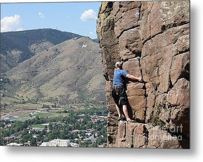 Metal Print featuring the pyrography Golden Climbing by Chris Thomas