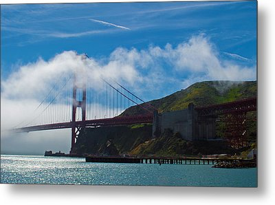Golden Gate And Fog Metal Print by Rima Biswas