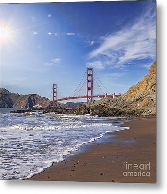 Golden Gate Bridge With Sun Flare Metal Print by Colin and Linda McKie