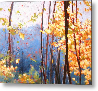 Golden Leaves Metal Print by Carlynne Hershberger