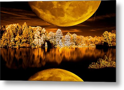 Metal Print featuring the photograph Golden Moon Pond by David Stine
