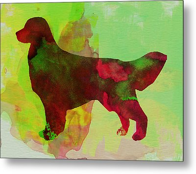 Golden Retriever Watercolor Metal Print by Naxart Studio
