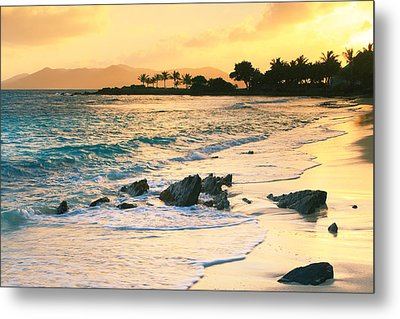 Golden Sunrise On Sapphire Beach Metal Print by Roupen  Baker