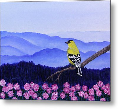 Goldfinch And Rhododendrens Metal Print by Janet Greer Sammons