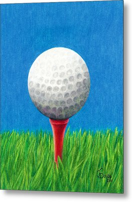 Metal Print featuring the drawing Golf Ball And Tee by Janice Dunbar