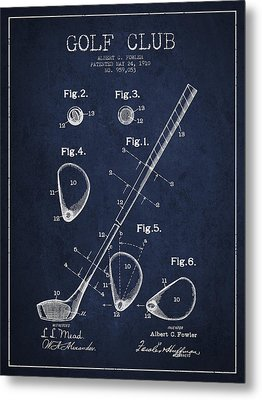 Golf Club Patent Drawing From 1910 Metal Print by Aged Pixel