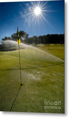 Golf Course Sprinkler On Sunny Day Metal Print by Amy Cicconi