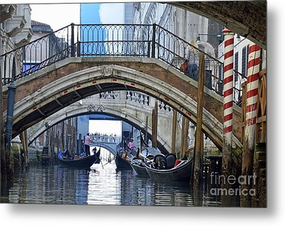 Gondolas And Bridges On Canal Metal Print by Sami Sarkis