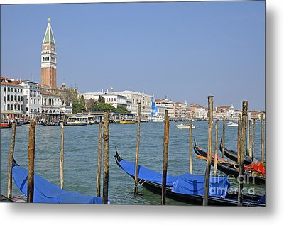 Gondolas At Pier By Grand Canal Metal Print by Sami Sarkis