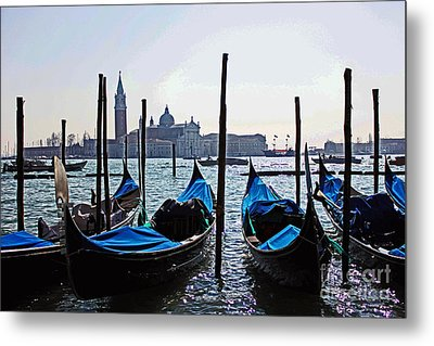 Gondolas Of Venice Metal Print by Alison Tomich