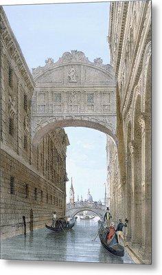 Gondolas Passing Under The Bridge Of Sighs Metal Print by Giovanni Battista Cecchini