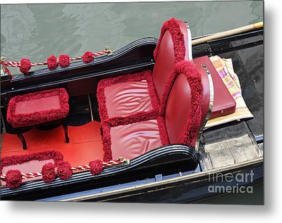 Gondolas Red Seats By Canal Metal Print