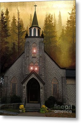 Gothic Old Church Autumn Forest Woodlands Metal Print by Kathy Fornal