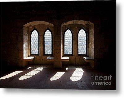 Gothic Windows Of The Royal Residence In The Leiria Castle Metal Print by Jose Elias - Sofia Pereira