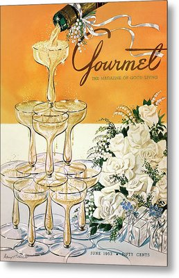 Gourmet Cover Featuring A Pyramid Of Champagne Metal Print by Henry Stahlhut