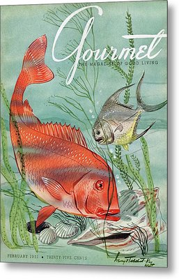Gourmet Cover Featuring A Snapper And Pompano Metal Print by Henry Stahlhut