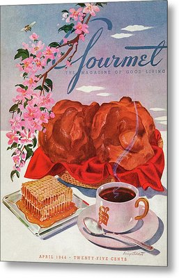 Gourmet Cover Illustration Of A Basket Of Popovers Metal Print by Henry Stahlhut
