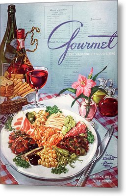Gourmet Cover Illustration Of A Plate Of Antipasto Metal Print