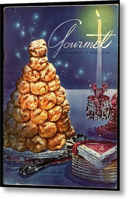 Gourmet Cover Illustration Of Croquembouche Metal Print by Henry Stahlhut