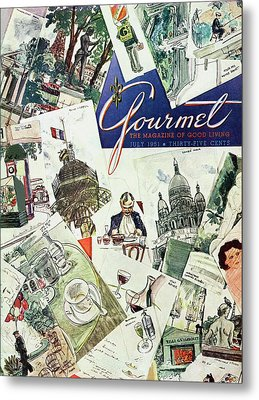 Gourmet Cover Illustration Of Drawings Portraying Metal Print by Henry Stahlhut