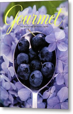 Gourmet Magazine Cover Blueberries On Silver Spoon Metal Print by Jim Franco
