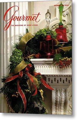 Gourmet Magazine Cover Featuring Christmas Garland Metal Print