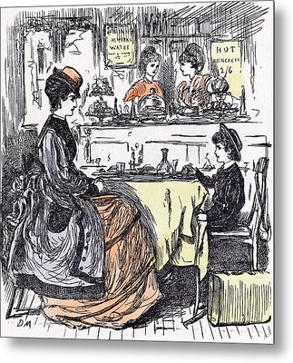 Governess And Boy At The Restaurant 1873 Suitcase Table Metal Print