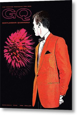 Gq Cover Of An Illustration Of A Man Wearing An Metal Print by Leon Kuzmanoff