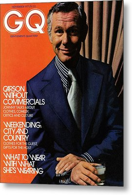 Gq Cover Of Johnny Carson Wearing Suit Metal Print by Bruce Bacon