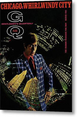 Gq Cover Of Model Wearing A Louis Roth Jacket Metal Print