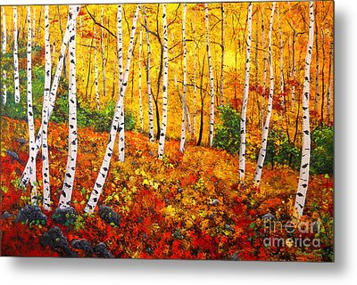 Graceful Birch Trees Metal Print by Connie Tom