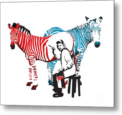 Graffiti Print Of Rembrandt Painting Stripes Zebra Painter Metal Print by Sassan Filsoof