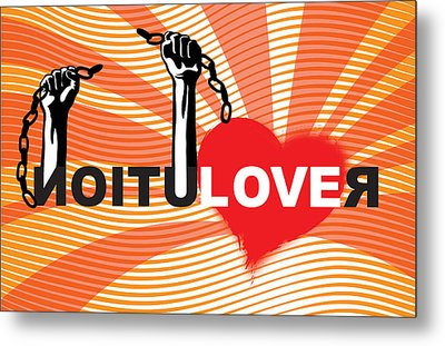 Graffiti Style Illustration Slogan Love Revolution Metal Print
