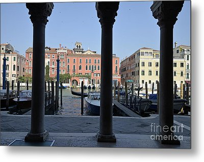 Grand Canal Viewed Through Columns Metal Print by Sami Sarkis