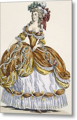 Grand Court Dress In New Style Metal Print by Augustin de Saint-Aubin