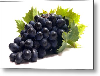Metal Print featuring the digital art Grapes by David Blank