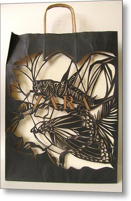 Grasshopper With Butterfly Metal Print by Alfred Ng