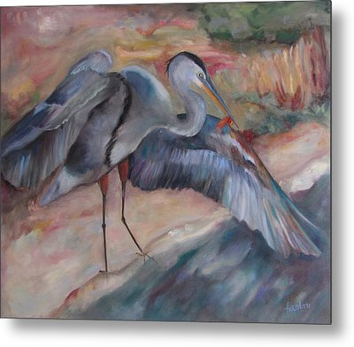 Great Blue Heron Metal Print by Susan Hanlon