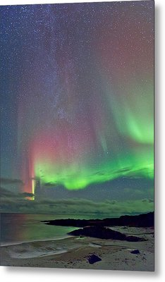 Green And Red Sky Metal Print